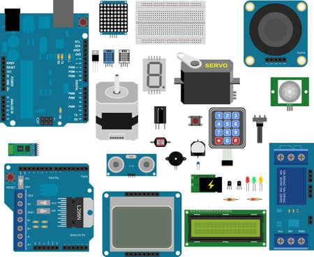Illustrazione per Arduino electronic elements - Immagini Royalty Free
