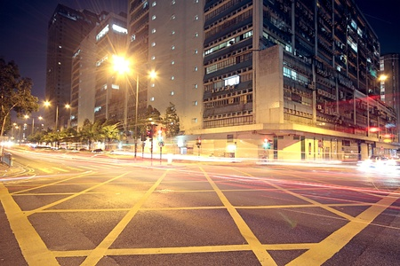 Foto de Modern Urban City with Freeway Traffic at Night, hong kong  - Imagen libre de derechos