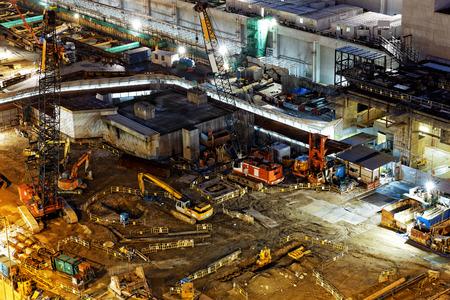 Photo pour Construction site Aerial Shot at night - image libre de droit