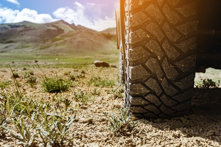 Photo pour Closeup photo of car wheel on steppe terrain - image libre de droit