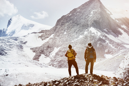 Photo for Two friends trekking mountains concept - Royalty Free Image
