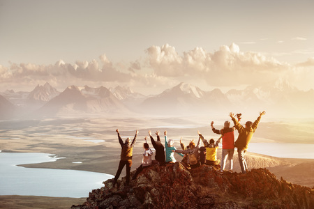 Foto de Big group of people success mountain top - Imagen libre de derechos