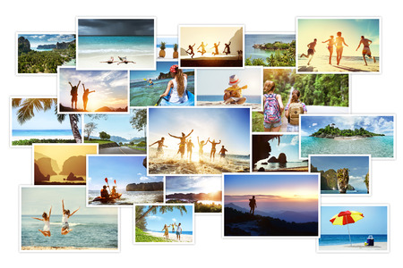 Photo pour Photo collage of tropical images with landscapes and peoples - image libre de droit
