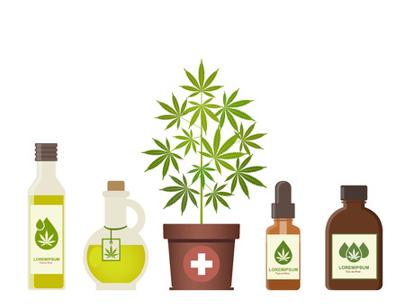 Ilustración de Marijuana plant and cannabis oil. Medical marijuana. Hemp oil in a jar. CBD oil hemp products. Oil glass bottle mock up. Packaging product label and logo graphic template. Vector illustration. - Imagen libre de derechos