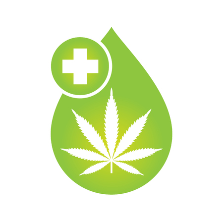 Ilustración de Medical Cannabis oil icon design with Marijuana leaf and hemp oil drop. CBD oil cannabis extract. Icon product label and logo graphic template. Isolated vector illustration on white background. - Imagen libre de derechos