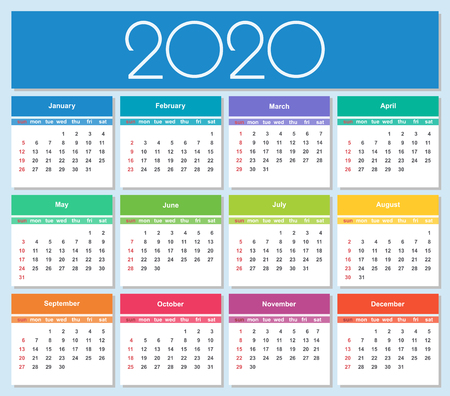 Illustration for Colorful year 2020 calendar. Simple Vector Template. Isolated illustration - Royalty Free Image