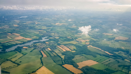 Photo pour English Countryside Aerial shot from plane. Very much one of the main tourist attractions and points of interest in the area. - image libre de droit