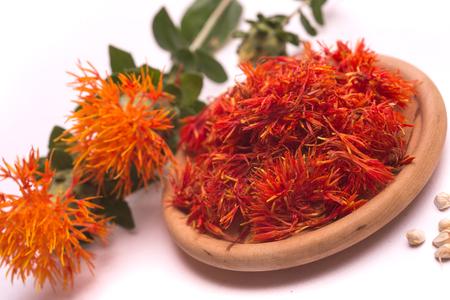 Photo for Safflower latin name Carthamus tinctorius or fake saffron on a white background - Royalty Free Image
