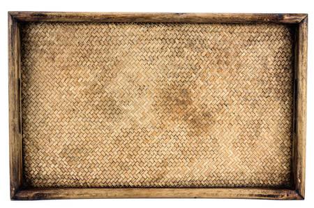 Foto de Weaving rattan basket trays isolated on white background - Imagen libre de derechos