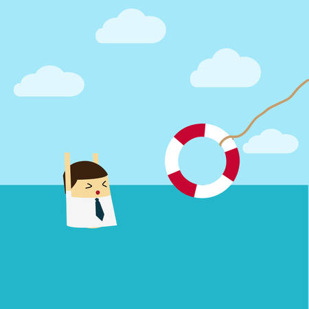 Illustrazione per Businessman With Life Preserver. Flat design - Immagini Royalty Free