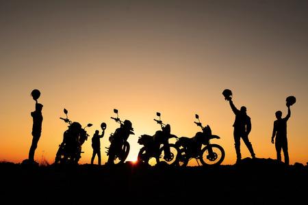 Foto de motorcycle silhouette team - Imagen libre de derechos