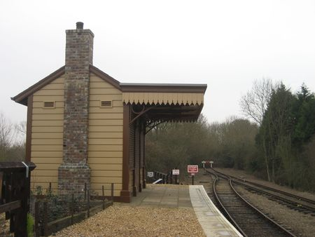 this picture shows a small railway station in England