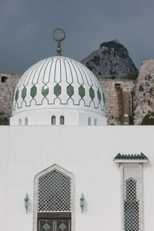 Mosque at Europa Point with the Upper Rock Behind as background mural