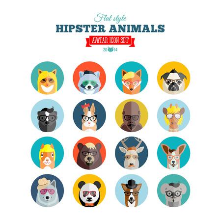 Illustration pour Flat Style Hipster Animals Avatar Icon Set for Social Media or Web Site - image libre de droit