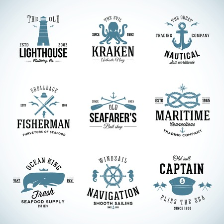 Illustration for Set of Vintage Nautical Labels and Signs With Retro Typography - Royalty Free Image