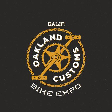 Illustration pour Retro Vector Bike Custom Show Expo Label or Logo Design - image libre de droit