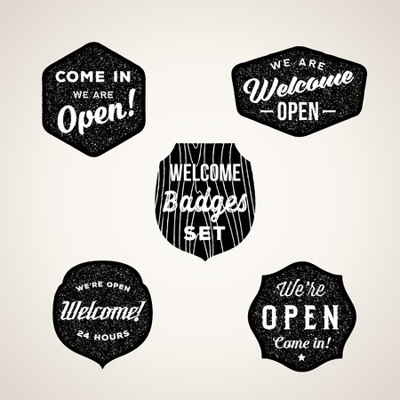 Illustration for Retro Welcome and Open Signs or Labels. Textured Shapes with Typography. - Royalty Free Image
