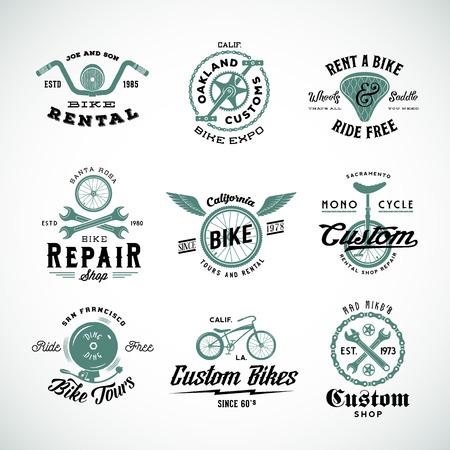 Illustration pour Retro Bicycle Vector Labels or Logo Templates Set - image libre de droit