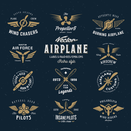 Illustration for Vintage Vector Airplane Labels Set with Retro Typography. Shabby Texture on Blue Background. - Royalty Free Image