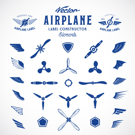 Illustration pour Abstract Vector Airplane Labels or Logos Construction Elements. Isolated. - image libre de droit
