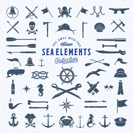 Illustration pour Vintage Vector Sea or Nautical Icon Symbol Elements Set for Your Retro Labels, Badges and Logos. Huge Template with Shabby Texture. Isolated. - image libre de droit