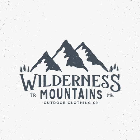 Illustration pour Wilderness Mountains Outdoor Clothing Vintage Vector Sign, Label or Logo Template. With Shabby Texture. Isolated. - image libre de droit