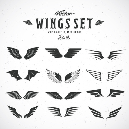 Illustration for Abstract Vector Wings Big Set, Both Retro and Modern Look. With Shabby Texture. - Royalty Free Image