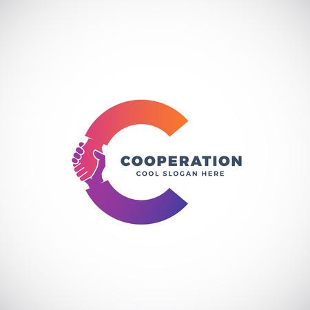 Ilustración de Cooperation Abstract Vector Sign, Symbol or Logo Template. Hand Shake Incorporated in Letter C Concept. Isolated. - Imagen libre de derechos