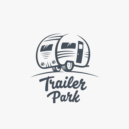 Illustration pour Trailer or Van Park VectorTemplate. Silhouette Tourism Icon. Label with Retro Typography. Isolated. - image libre de droit