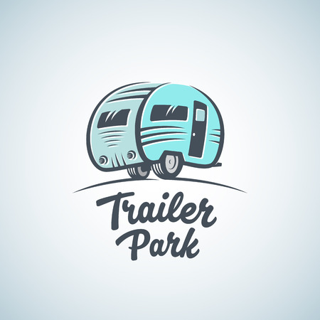 Illustration pour RV, Van or Trailer Park Vector Logo Template. Silhouette Tourism Icon. Label with Retro Typography. Isolated. - image libre de droit