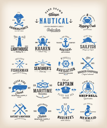 Illustration pour Abstract Retro Nautical Labels Collection. Vintage Sea Emblems, Signs or Logo Templates. Whales, Anchors, Octopus, Marmaid, etc. with Classic Typography. - image libre de droit