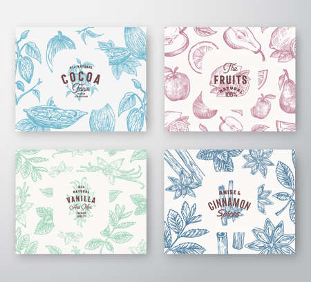 Ilustración de Hand Drawn Fruits, Cocoa Beans, Mint, Nuts and Spices Cards Set. Abstract Vector Sketch Pattern Backgrounds Collection with Classy Retro Typography and Vintage Labels. Isolated. - Imagen libre de derechos