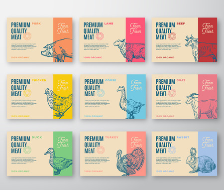 Ilustración de Premium Quality Meat and Poultry Labels Bigger Set. Abstract Vector Labels Packaging Design. Modern Typography and Hand Drawn Animals Silhouette Background Layouts. Isolated. - Imagen libre de derechos