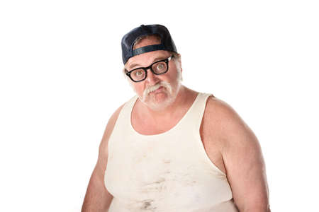 Fat man in tee shirt on white background
