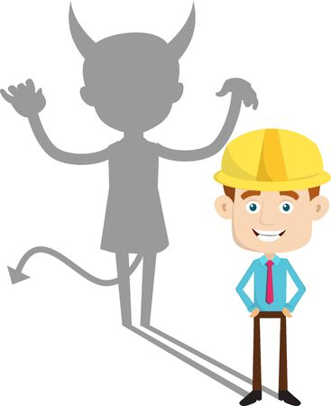 Illustrazione per Engineer Builder Architect - Devil person Standing with Fake Smile - Immagini Royalty Free