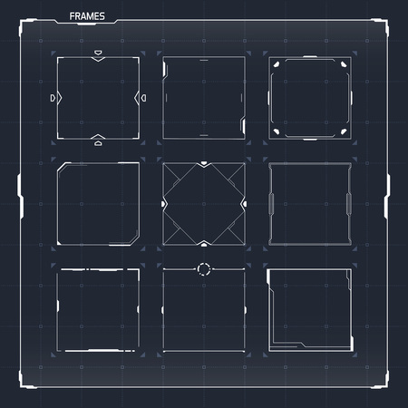 Illustration pour Sci Fi Futuristic HUD User Interface Square Frames Set. Abstract UI elements - image libre de droit