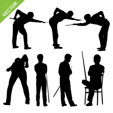 Snooker player silhouettes