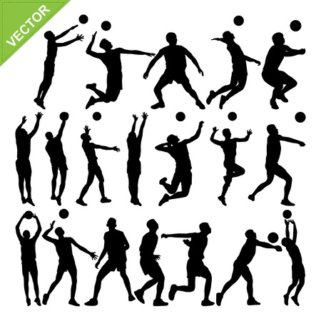 Men volleyball player silhouettes