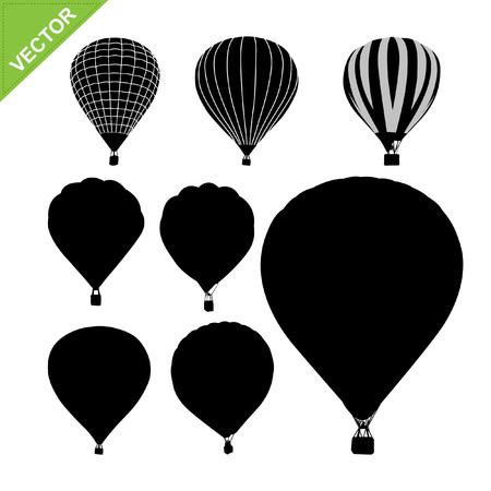 Illustration pour Hot air balloon silhouettes vector  - image libre de droit