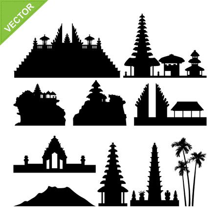Illustration pour Bali, Indonesia landmark silhouettes vector - image libre de droit