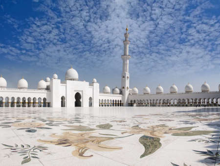 Sheikh Zayed Mosque with a view of beautiful prayer veranda and lovely clouds this is one o mural