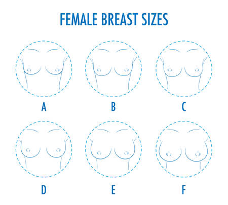 Illustrazione per Set of contour round icons of different female breast size, body front view. Various boobs sizes, from small to large. Sizes of busts, from A to F. Vector isolated, monochrome. - Immagini Royalty Free