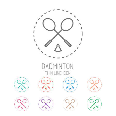 Badminton game icons - rackets with shuttlecock. Clean thin line style sport icon set. Vector Illustration