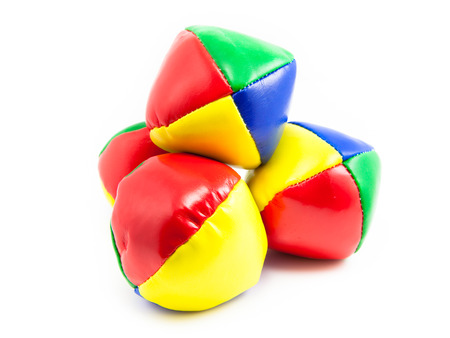 Concept for Multitasking Challenges, Set of Colorful Juggling Balls on White Background