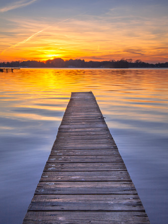 Photo for Sunset over Serene Water of Lake Paterwoldsemeer - Royalty Free Image