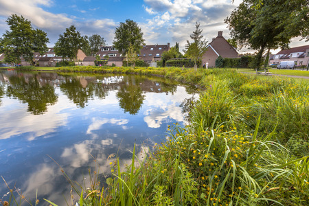 Photo pour Eco friendly lakeside with gentle slope to stimulate growth of wildflowers and swamp vegetation in a recreational park in Soest, Netherlands - image libre de droit