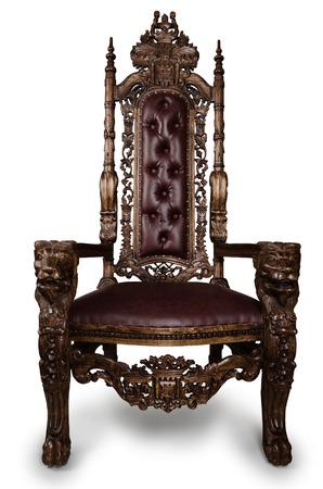 Foto de Vintage Throne Chair isolated on White Background - Imagen libre de derechos