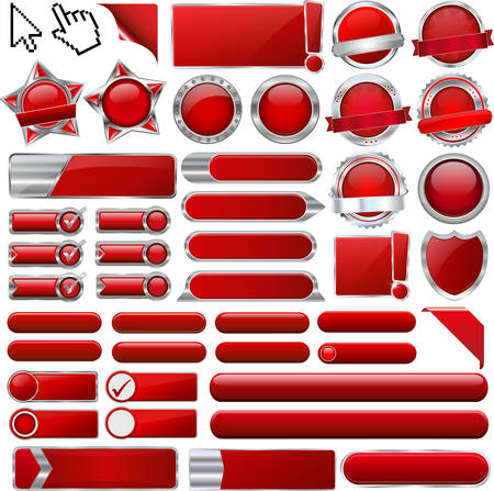Illustration pour collection of red buttons - image libre de droit