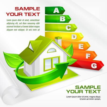 Ilustración de Energy efficiency rating with arrows and house   text, illustration - Imagen libre de derechos