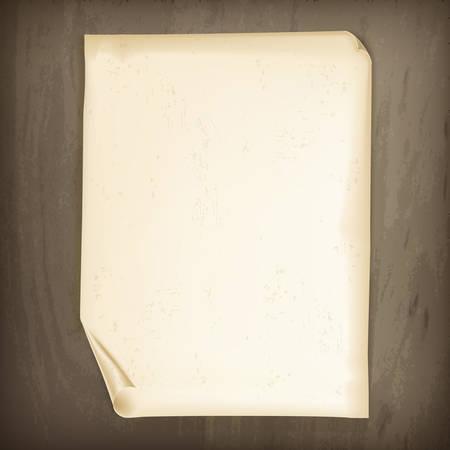 Ilustración de Vintage paper on wooden background, vector illustration - Imagen libre de derechos